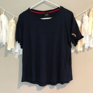 Anthropologie W5 Navy Blue Rainbow Patch Sleeve